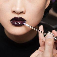 Glossy Deep Dark Aubergine Vampy Lips at Dior #Fall2016 #lipstick #makeup #AW16