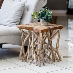 Chief Square Table And Stool # End Table # Square Table # Black And Brown Square Table # Wooden Square Table # Branch Teak Table # Garden Age Supply Teak Branched Out Table - Square Side Table