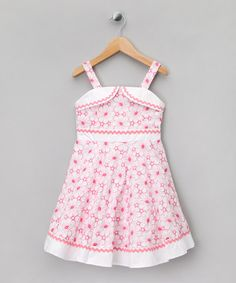 Take a look at this Pink & White Floral Rickrack Dress - Girls by Matilda's Wardrobe on #zulily today!