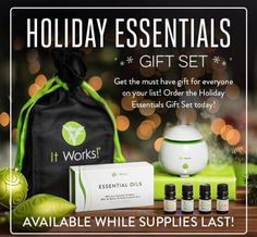 Just in time for the holidays, get ready to BOOM, CHILL, DEFEND, and CLEAR with the It Works! Essential Oils!*  Give all four of them (or treat yourself!) with the Holiday Essentials Gift Set! It's THE gift for everyone on your list!  Designed for the holidays, this gift set includes all four, 5ml, 100% pure essential oil blends: BOOM, CHILL, DEFEND; our Essential Diffuser; and a reusable draw string gift bag!  It's the MUST HAVE under the tree this holiday!