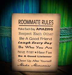 Roommate Rules Wood Sign (Small) - Dorm Room, Apartment, House, New Apartment by HeartlandSigns on Etsy                                                                                                                                                      More