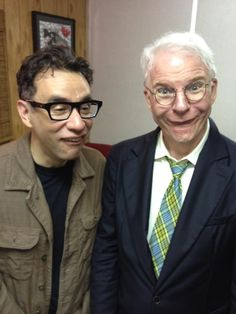My heroes: Fred Armisen and Steve Martin. Make Em Laugh, I Love To Laugh, Fred Armisen, Hysterically Funny, Steve Martin, People Laughing, Saturday Night Live, Comedy Central, Interesting Faces