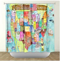 great map shower curtain for kids