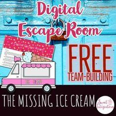 "Digital Escape Room: The Missing Ice Cream FREEBIE Your family loves ""I Scream"" Ice Cream Truck. It has the best ice cream in the city. Escape Room For Kids, Escape Room Puzzles, Team Building Activities, Activities For Kids, Stem Activities, Escape Room Team Building, Detective, Professor, 4th Grade Math"