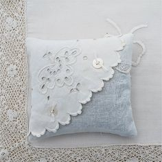Lavender Sachet Pair Two Vintage Textiles White Linen Eyelet Embroidery Tatting Flowers