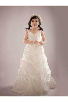 45ba3e436 Sleeveless Beaded Pick Up Ivory Flower Girl Dress with Pleats and Flowers - Flower  Girl Dress - Wedding Party Dresses