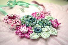 Pastel Colored Floral Fabric Necklace with by suzannecarillo, $69.99