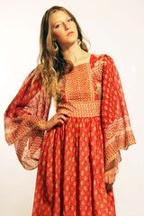 Red and Gold Vintage Indian Long Dress