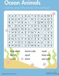 Habitats Word Search: Ocean Animals Worksheet
