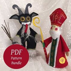 Krampus & St Nicholas ~ 2 PDF Pattern Bundle, Hand Embroidered Plush Ornaments and Figures Instant Download, DIY Embroidered Felt Art Saint Nicholas, Father Christmas, Felt Art, Diy Nativity, The Donkey, Pdf Patterns, Plush, Things To Sell, Ornaments