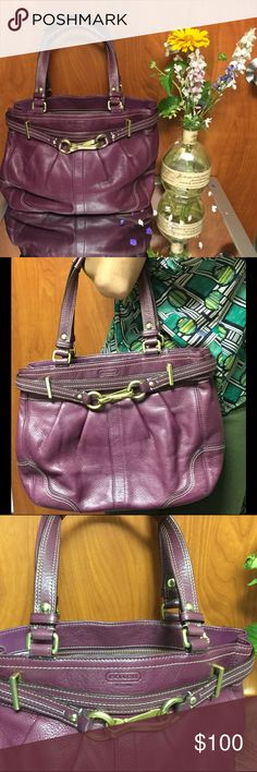 SALE!!! Coach pebble leather Hampton purse Purchased a few years ago only used 2times and has been sitting in my closet since. Excellent condition. Color is plum Coach Bags Shoulder Bags