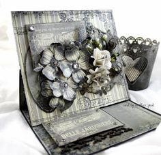 created for Megd garden with the romantic Damask Collection. Card Making Templates, Halloween Tags, Shabby Flowers, Fancy Fold Cards, Easel Cards, Creative Cards, Scrapbook Cards, Scrapbooking, Deco