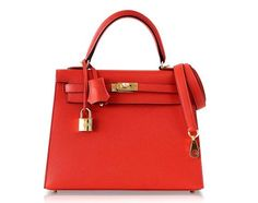 Guaranteed authentic Hermes 25 Kelly Sellier Rouge Tomate red in Epsom leather.Sumptuous with Gold hardware. Hermes Bags, Hermes Handbags, Fashion Handbags, Tote Handbags, Suede Handbags, Pink Handbags, Large Handbags, Hermes Kelly 25, Kelly Bag