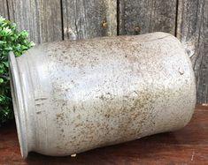 Grand Pot en Grès Emaillé, Camaïeu de Gris, Rustique France, Vase, Jardinière, Shabby Chic, Décoration Française pour Maison de Campagne