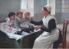 La Becquée ~ Timoléon Marie Lobrichon ~ (French: 1831-1914)  Nurse