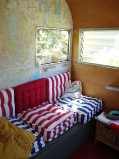 danger garden: Urban Hillbilly Chic, at the GBF (Brilliant idea using a map as wallpaper/artwork for a *camper*!although I'd personally draw colors -most likely the blue- FROM the map to accessorize. Old Campers, Retro Campers, Vintage Campers, Caravan Living, Rv Living, Camper Caravan, Camper Trailers, Camper Life, Vintage Caravans