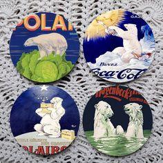 A Plethora of Polar Bears  Vintage Advertising coaster set coasters by Polkadotdog