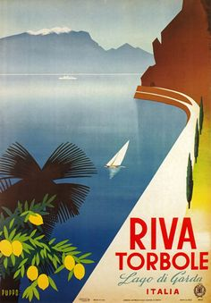 Shop Vintage Travel Poster, Lago Di Garda, Italy Poster created by yesterdaysgirl. Vintage Italian Posters, Pub Vintage, Vintage Italy, Vintage Travel Posters, Vintage Postcards, Retro Poster, Poster Ads, Poster Prints, 1950s Posters