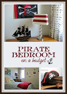 Fun, affordable, budget friendly pirate bedroom for boys. Boys Pirate Bedroom, Pirate Room Decor, Pirate Nursery, Boys Room Decor, Boy Room, Kids Bedroom, Kids Rooms, Pirate Kids, Bedroom Themes