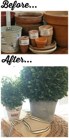 Whitewashed, Stenciled and Faux Concrete DIY Pots