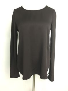 Theory Womens Top Stretch Brown Sheen Rounded Sides Size PS  | eBay