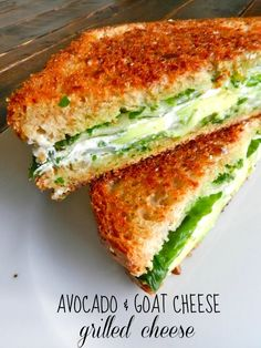 avocado & goat cheese grilled cheese with pesto and spinach.