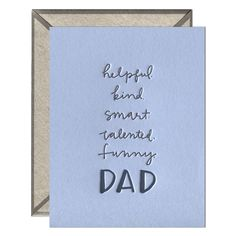 Letterpress-printed greeting card with signature INK MEETS PAPER® recycled kraft envelope. Dad Humor, Letterpress Printing, Kraft Envelopes, Fathers Day, Dads, Greeting Cards, Make It Yourself, Ink, Paper
