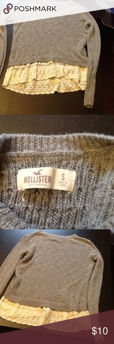 Long knitted top from Hollister Perfect Condition! Cute lace at the bottom, perfect to wear with leggings! Hollister Tops Tees - Long Sleeve