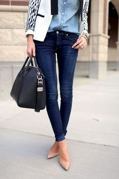 Tan leather pumps with Givenchy black leather purse with skinny jeans  a black  white blazer