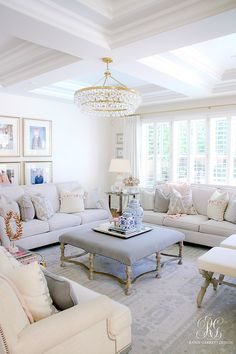 transitional family room styled for summer