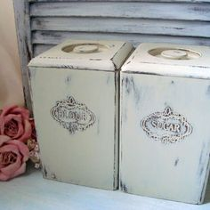 old cream canisters with flour and sugar on jars | coaster set