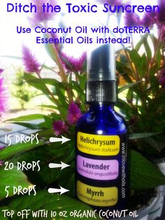 Natural Sunscreen, be safe. Order your oils from www.mydoTerra.com/annelarocca & supplies/spray bottles from www.aromatools.com
