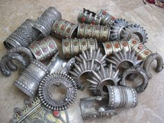 Collection of old tribal cuffs, mostly from Turkoman and Pakistan | © Tribal Heritage on Ethnic Jewels.