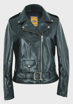 """536W - Women's 23"""" Lightweight Waxy Natural Grain Cowhide Perfecto Asymmetrical Leather Jacket"""