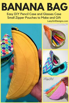 Lazy Girl Designs Banana Bag is perfect to hold sunglasses, sewing supplies, etc. This PDF sewing pattern by Lazy Girl Designs item are adorable, functional zip pouches. She only uses one half of the zipper and swaps the zipper pull color. Diy Pouch No Zipper, Zipper Bags, Easy Sewing Projects, Sewing Projects For Beginners, Sewing Tutorials, Diy Projects, Lazy Girl Designs, Diy Pencil Case, Simple Bags