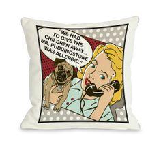 "18""x18"" Mr. Puddingstone 2 Pug Throw Pillow"