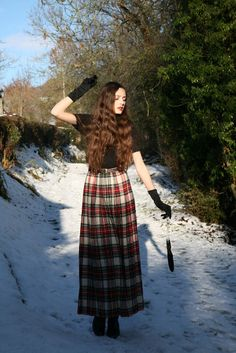 Long Tartan Skirt.  Hope to find one of these in a thrift store for the holidays.