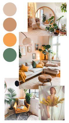Boho Living Room, Living Room Colors, Living Room Decor, Sage Living Room, Study Room Decor, Beige Living Rooms, Retro Living Rooms, Bedroom Colors, Interior Design Living Room