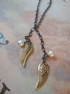 Angel Wings and Pearls Lariat Necklace by DesignsbyJocelyn on Etsy, $28.00