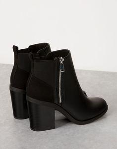 68d574e838696 Bottines bi-matière élastique talon moyen. Chaussure Bottine FemmeBottes ...