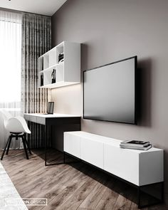 Desk In Living Room, Living Room Modern, Living Room Decor, Home Room Design, Home Office Design, Interior Design Living Room, Master Bedroom Interior, Tv In Bedroom, Flat Interior Design