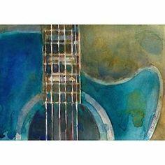 "Rifkin - Sale - #Blue ESP- #Acoustic Guitar 5"" x 7"" -Watercolor Horizontal"