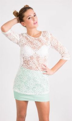 Crop Sleeve Floral Embroidery Organza Top £10.99 http://hiddenfashion.com/new-in/new-in-clothing/ladies-white-crop-sleeve-sheer-organza-flower-embroidered-tops.html #sheer #floral #organza #embroidery #top