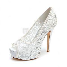 Women's Spring / Summer / Fall Heels / Peep Toe / Platform Lace Wedding Stiletto Heel Black / Pink / Ivory / White 2016 - $44.99