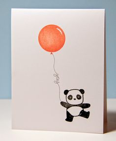 Pandamonium, Mama Elephant, could use handwritten borders for balloon strings, SSS, Amusing Michelle: A bunch of pandas Watercolor Birthday Cards, Birthday Card Drawing, Watercolor Cards, Bday Cards, Funny Birthday Cards, Diy Birthday, Panda Birthday, Panda Drawing, Cute Cards