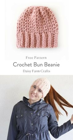 Crochet Bun Beanie - Free Pattern