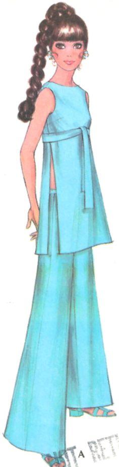 McCallsDress Top Pants Pattern 9743 Vintage UNCUT 1969