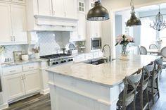 "Farmhouse kitchen countertop ""Superwhite #Quartzite""#kitchens #kitchendesign #floortiles #kitchentileideas  #graniteflooring #granitedepot"