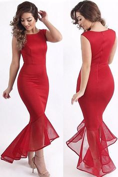 2015 New Fashion Sexy O-Neck Red Tulle Fishtail Sleeveless Long Party Maxi Dress GY60615 Free Shipping Bodycon Dresses