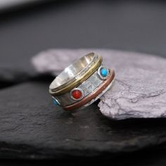 free uk shipping, sterling silver, copper,  brass spinning ring,  R202